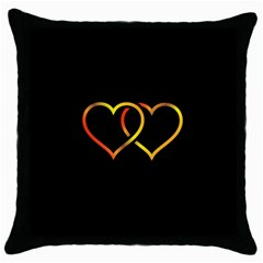 Heart Gold Black Background Love Throw Pillow Case (black) by Nexatart
