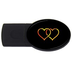 Heart Gold Black Background Love Usb Flash Drive Oval (2 Gb) by Nexatart
