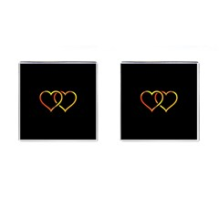 Heart Gold Black Background Love Cufflinks (square) by Nexatart