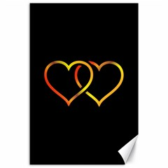 Heart Gold Black Background Love Canvas 24  X 36  by Nexatart