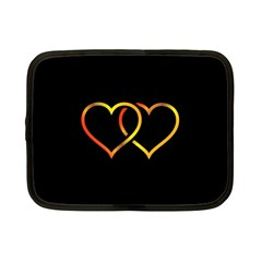Heart Gold Black Background Love Netbook Case (small)