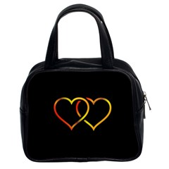 Heart Gold Black Background Love Classic Handbags (2 Sides) by Nexatart