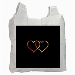 Heart Gold Black Background Love Recycle Bag (two Side)  by Nexatart