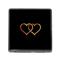 Heart Gold Black Background Love Memory Card Reader (square)