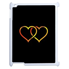 Heart Gold Black Background Love Apple Ipad 2 Case (white) by Nexatart