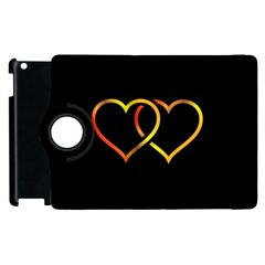 Heart Gold Black Background Love Apple Ipad 2 Flip 360 Case by Nexatart