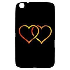 Heart Gold Black Background Love Samsung Galaxy Tab 3 (8 ) T3100 Hardshell Case
