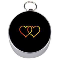 Heart Gold Black Background Love Silver Compasses