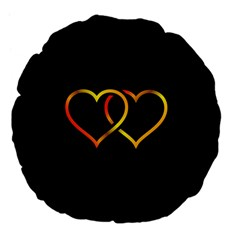 Heart Gold Black Background Love Large 18  Premium Flano Round Cushions by Nexatart