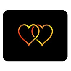 Heart Gold Black Background Love Double Sided Flano Blanket (large)  by Nexatart