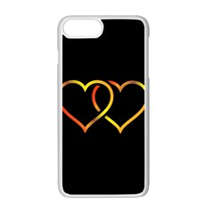 Heart Gold Black Background Love Apple Iphone 7 Plus White Seamless Case by Nexatart
