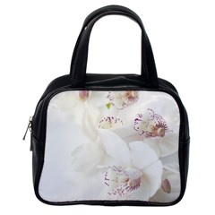 Orchids Flowers White Background Classic Handbags (one Side)
