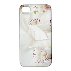 Orchids Flowers White Background Apple Iphone 4/4s Hardshell Case With Stand by Nexatart