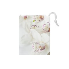 Orchids Flowers White Background Drawstring Pouches (small)