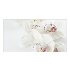 Orchids Flowers White Background Satin Shawl