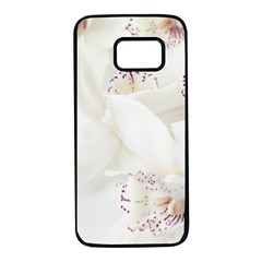 Orchids Flowers White Background Samsung Galaxy S7 Black Seamless Case