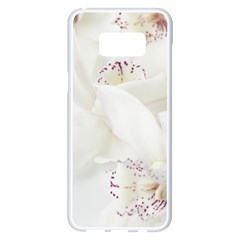 Orchids Flowers White Background Samsung Galaxy S8 Plus White Seamless Case