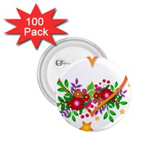 Heart Flowers Sign 1 75  Buttons (100 Pack)