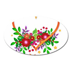 Heart Flowers Sign Oval Magnet by Nexatart