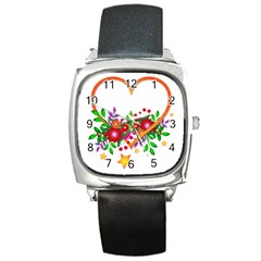 Heart Flowers Sign Square Metal Watch by Nexatart