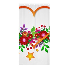Heart Flowers Sign Shower Curtain 36  X 72  (stall)