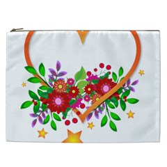 Heart Flowers Sign Cosmetic Bag (xxl)  by Nexatart