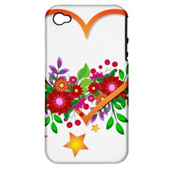 Heart Flowers Sign Apple Iphone 4/4s Hardshell Case (pc+silicone) by Nexatart