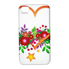 Heart Flowers Sign Apple Iphone 4/4s Hardshell Case With Stand by Nexatart