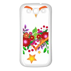Heart Flowers Sign Samsung Galaxy S3 Back Case (white) by Nexatart