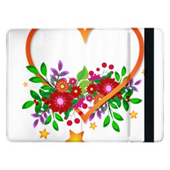 Heart Flowers Sign Samsung Galaxy Tab Pro 12 2  Flip Case by Nexatart