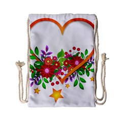 Heart Flowers Sign Drawstring Bag (small) by Nexatart