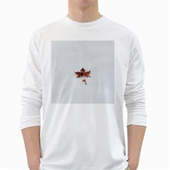 Winter Maple Minimalist Simple White Long Sleeve T-shirts by Nexatart