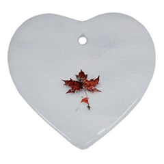 Winter Maple Minimalist Simple Heart Ornament (two Sides) by Nexatart