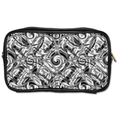 Gray Scale Pattern Tile Design Toiletries Bags
