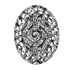 Gray Scale Pattern Tile Design Oval Filigree Ornament (two Sides)