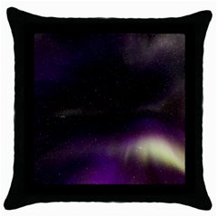 The Northern Lights Nature Throw Pillow Case (black) by Nexatart