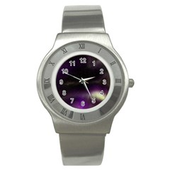 The Northern Lights Nature Stainless Steel Watch by Nexatart