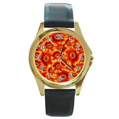 Gerbera Flowers Nature Plant Round Gold Metal Watch