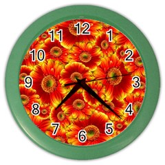 Gerbera Flowers Nature Plant Color Wall Clocks