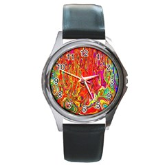 Background Texture Colorful Round Metal Watch