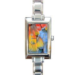 Spring Parrot Parrot Feathers Ara Rectangle Italian Charm Watch by Nexatart