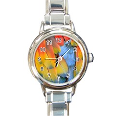 Spring Parrot Parrot Feathers Ara Round Italian Charm Watch by Nexatart