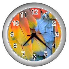 Spring Parrot Parrot Feathers Ara Wall Clocks (silver)  by Nexatart