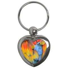 Spring Parrot Parrot Feathers Ara Key Chains (heart)  by Nexatart