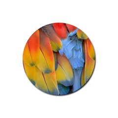 Spring Parrot Parrot Feathers Ara Rubber Round Coaster (4 Pack)