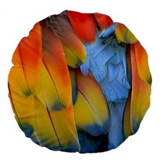 Spring Parrot Parrot Feathers Ara Large 18  Premium Flano Round Cushions by Nexatart