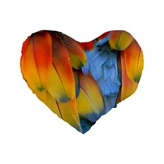Spring Parrot Parrot Feathers Ara Standard 16  Premium Flano Heart Shape Cushions by Nexatart