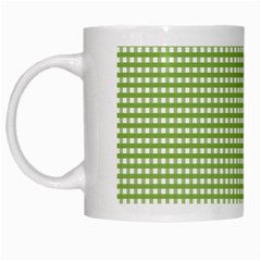 Gingham Check Plaid Fabric Pattern White Mugs