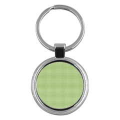 Gingham Check Plaid Fabric Pattern Key Chains (round)  by Nexatart