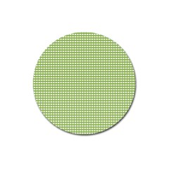 Gingham Check Plaid Fabric Pattern Magnet 3  (round) by Nexatart